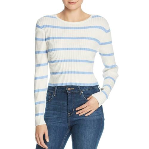 Wander Womens Joanna Striped Ribbed Knit Top Crop Sweater BHFO 8798 Lost