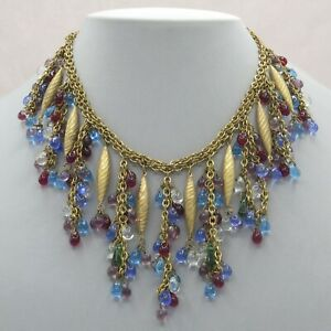 Vtg-1940-s-Miriam-Haskell-Pate-De-Verre-Art-Glass-Dangle-Bib-Cluster-Necklace