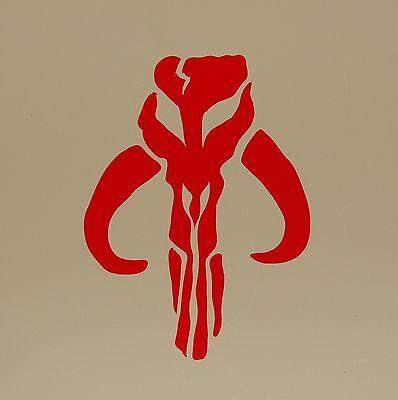 """RED,/& WHITE 2/"""" 3/"""" 4/"""" BANTHA Skull Vinyl Decal Sticker Boba Fett Star Wars BLACK"""