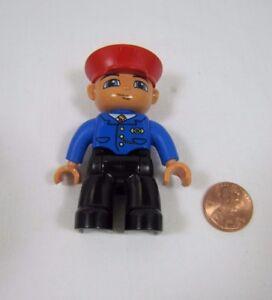"LEGO DUPLO TRAIN CONDUCTOR Black Hat 2.5/"" FIGURE for Train Station Worker Man #2"