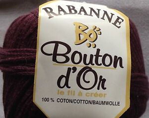 ONE Skein Rabanne Bouton D'or Yarn 72yd 25gr 100% Cotton Color 375 Muted Purple