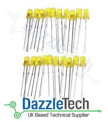 Super Bright White LED 5MM Pack of 20 emitting diodes clear lens backlighting indicators