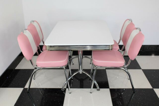 American Diner Furniture 50s Style Retro Booth Table And 4 Pink Chairs