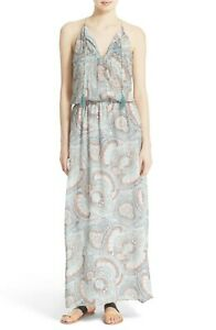 NWT-Joie-039-Jossa-B-039-Print-Silk-Maxi-Dress-Size-Medium-Blue-398
