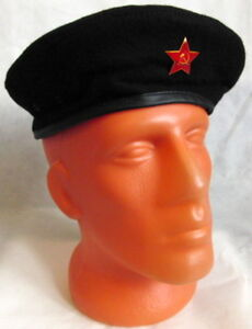 Russian USSR Army Black Beret Che Guevara Military Style Metal Red ... 8080ee96e96
