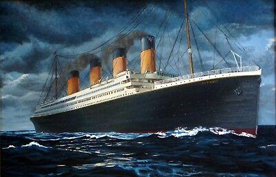 A0 A1 A2 A3 A4 The Titanic Ship Departing Vintage CANVAS Art Print