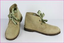 Chaussures à Lacets TRAFIC Daim beige / Rubans vert  T 38 TBE