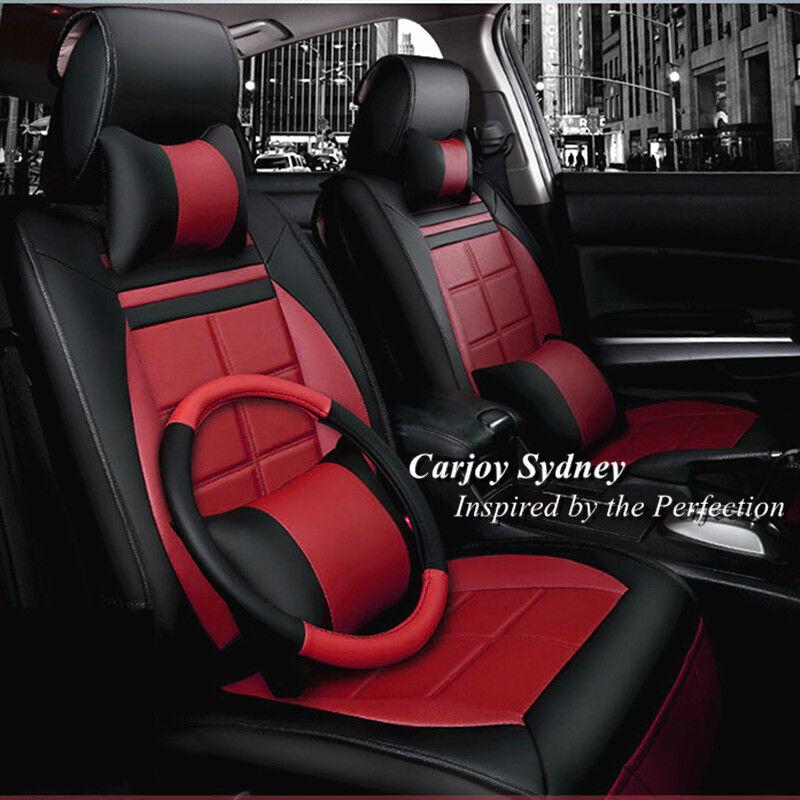black burgundy leather car seat cover mitsubishi lancer 5 seats outlander asx ebay. Black Bedroom Furniture Sets. Home Design Ideas