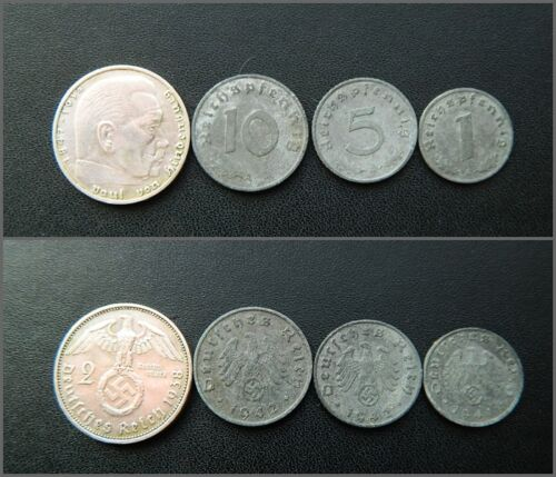 10 Reichspfennig #05 5 Set of German Reich 4 coins 2 Mark 1