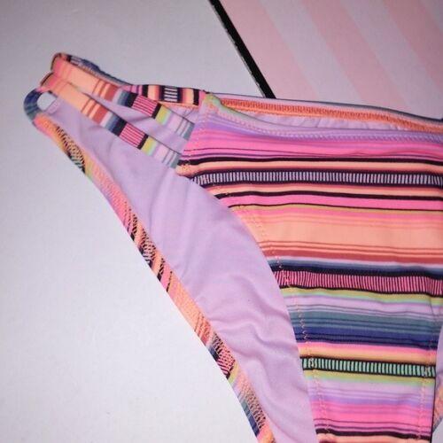 Victoria Secret Swim Suit Bikini Bottom Strappy Cheeky Orange Stripe Orange