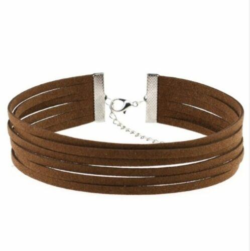 LILI Suede Wrap Multi Layer Choker Necklace Boho Hippie Chic Layered Jewelry
