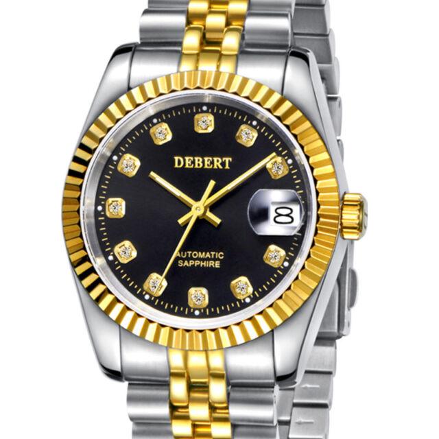 DEBERT Men's Date Steel Black Diamond Dial Automatic Watch DT7013SBUS