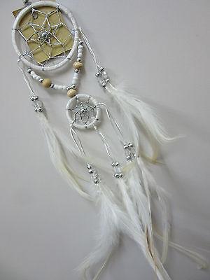 Nylon White Handmade 6cm Silver Web Dream Catcher 37cm Total Length