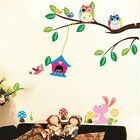Forest Owl Tree Leaves Birds art Wall Sticker Home Wall Decor Kids Room Decals