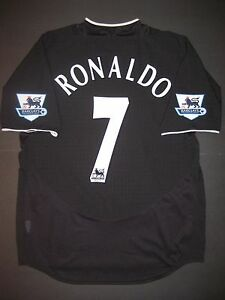 the latest b56ae 7aab9 Details about 2003/2004/2005 Nike Manchester United Cristiano Ronaldo  Jersey Shirt Kit Black