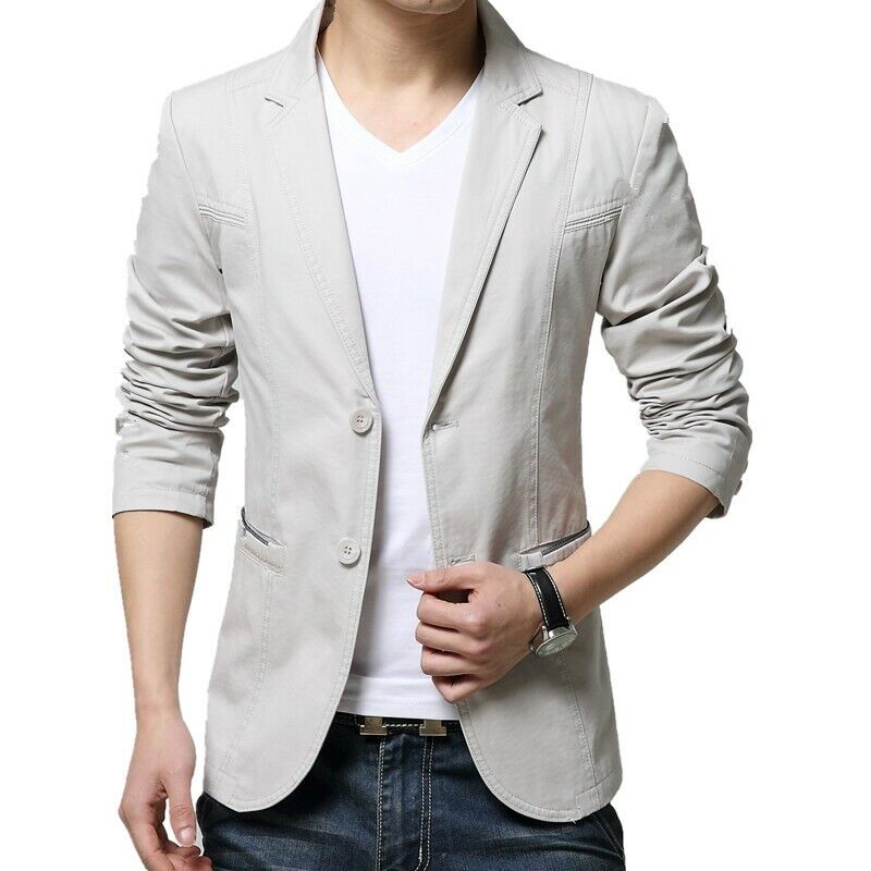 Mens Two Single Breasted Slim Fit Thin Long Sleeve Business Leisure Regular Coat