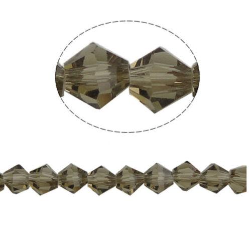 GLASPERLEN Grau FACETTIERT 6mm Strang BICONE Crystal p00119x7