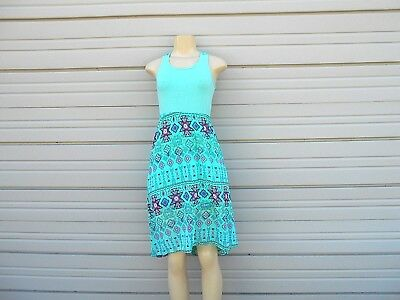Mint Green Aztec Patterned High-low Dress Evident Effect 10-12 Sincere Extremely Me Women's Size