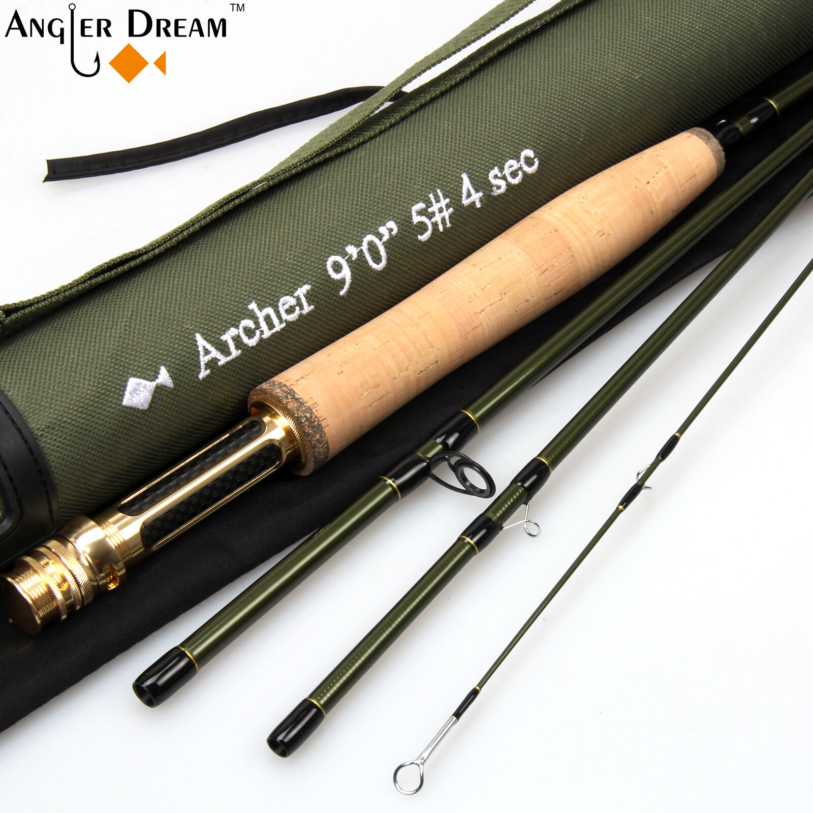 3458WT Fly Rod 9FT Fast Action Carbon Fiber Fly Fishing Rod & Cordura Tube