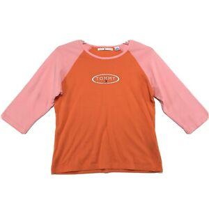 Tommy-Hilfiger-Raglan-Tee-T-Shirt-Womens-L-Large-Orange-Pink-3-4-Sleeve-Logo