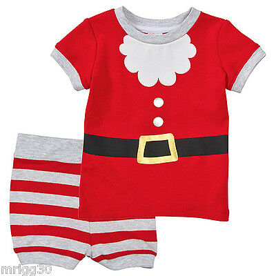 Baby Size 00 Christmas Santa Summer Pyjamas New 3 6 Mths Outfit