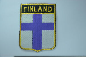 b7a46302cd41 Details about FINLAND SUOMI FLAG SHIELD Embroidered Sew Iron On Cloth Patch  Badge APPLIQUE