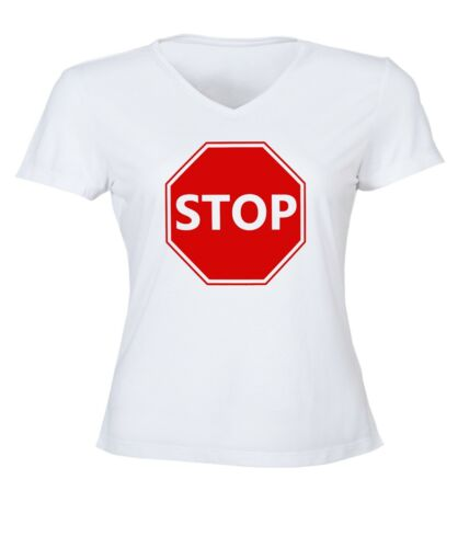 Details about  /Red Driver Stop Sign Women Junior V-Neck Top Tee T-Shirt