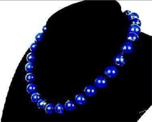 """BELLE 10 mm bleu égyptien LAPIS LAZULI Gemstone Collier 18/"""" AAA"""