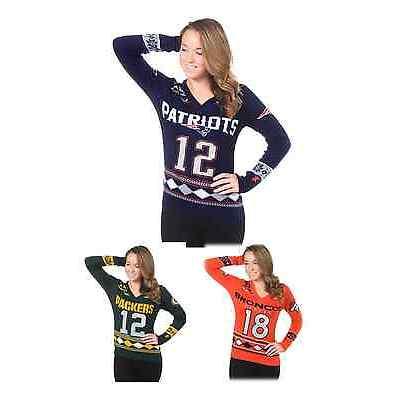 NFL Football Team Logo Womens Glitter Player V-Neck Sweater -Pick Your Favorite!
