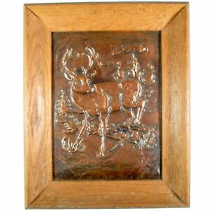 1950s Hammered Embossed Copper Deer Stag Buck Forest Hunting Art Man Cave
