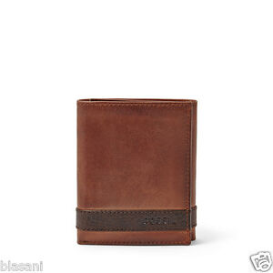 Fossil-Original-ML3645200-Brown-Quinn-Trifold-Leather-Men-039-s-Wallet