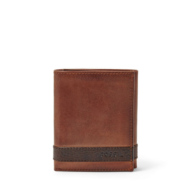 Fossil Original ML3645200 Brown Quinn Trifold Leather Men's Wallet