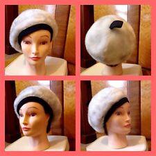 Vintage 50's 60's White Grey Faux Fur Black Trim Beret Hat S Mod Carnaby