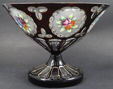 Tafelaufsatz, Rubinglas mit Blumenmalerei, Rand minimal (229/3099)