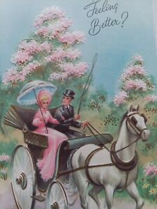 UNUSED-Vtg-LADY-Pink-DRESS-White-HORSE-Cart-Embossed-Get-Well-GREETING-CARD-NOS