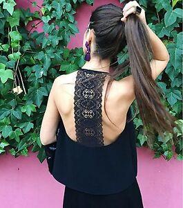 Blogger Noir au S dos M avec Halterneck Xs Haut dentelle dentelle Woman Zara en HRp5xqzxw