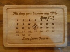 Image is loading Personalised-5th-Wedding-Anniversary-Chopping-Board-Unique- Wooden-