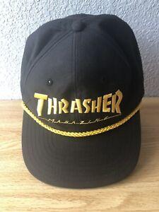 Thrasher-Magazine-Logo-Seil-Skateboard-Logo-Hut-Snapback-Kappe-Herren-schwarz-NEU