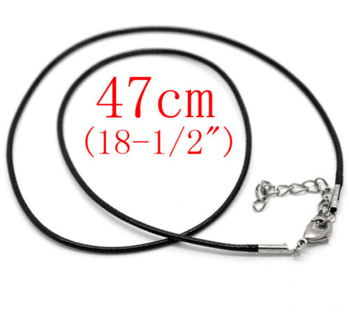 Clasp Braid Rope Cord Jewellery craft 50 x Faux Leather 18inch Necklace