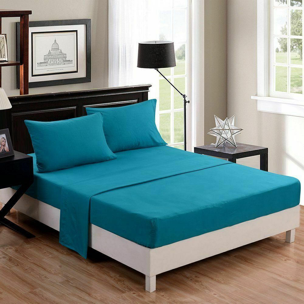 4 PCs Sheet Set Turquoise blueeeee Solid Cozy_100% Egyptian Cotton 1000 Thread Count