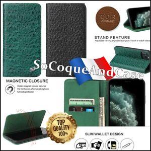 Cover-Custodia-Coccodrillo-Struttura-100-pelle-Vacchetta-IPHONE-11-pro-Max