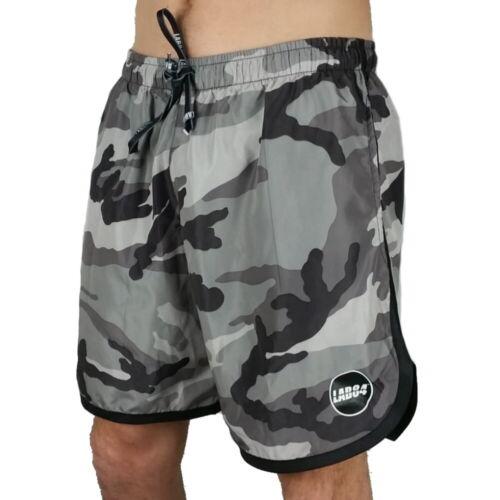 Lab84 Pantaloncini Corti Costume Shorts Mare Sport S9 SHM1004Camou Grigio Black