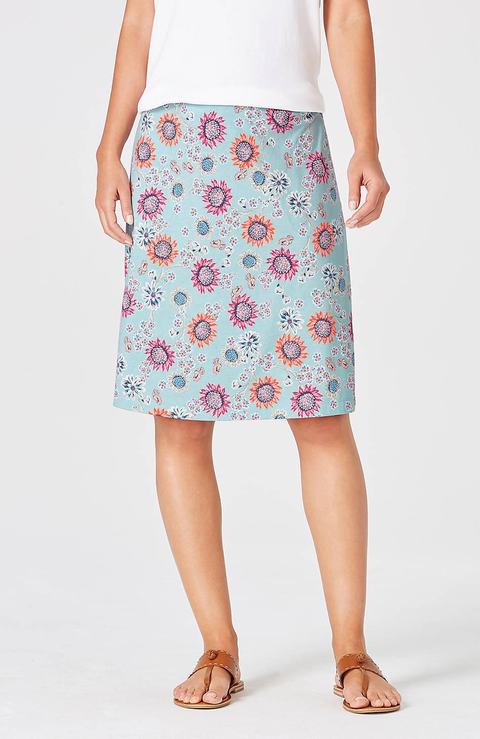J. Jill - 1X(Plus) - Very Pretty bluee Tint Floating Sunflowers Skirt - NWT