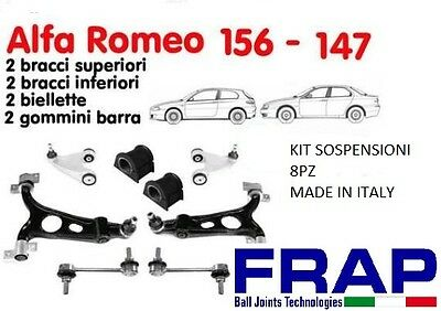 KIT BRACCI SOSPENSIONE ANTERIORI RINFORZATI ALFA ROMEO 147-156 GT 8PZ.