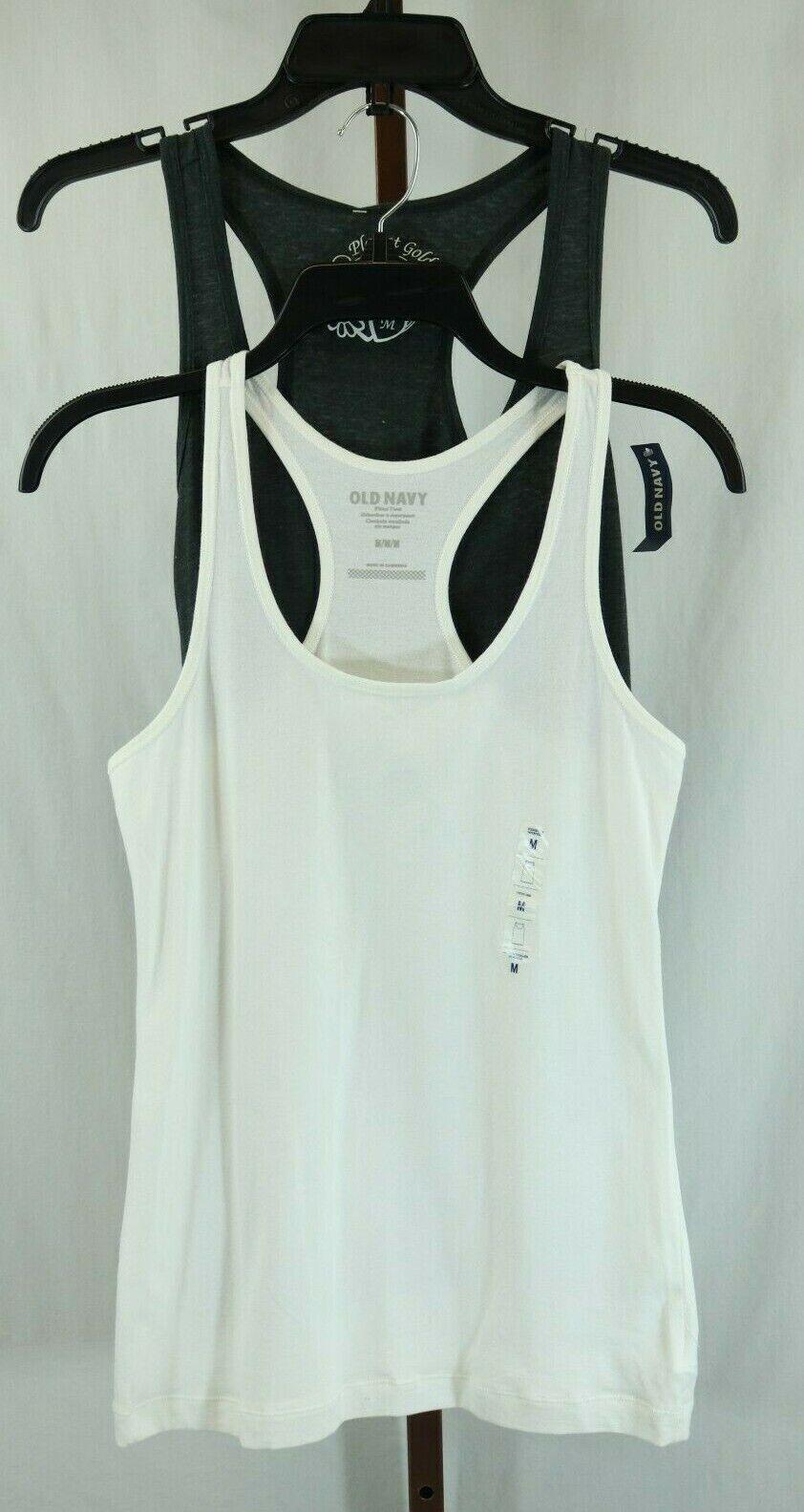 Multi Brand Womens Ladies Gray White Racerback Sleeveless Tank T-Shirts M NEW