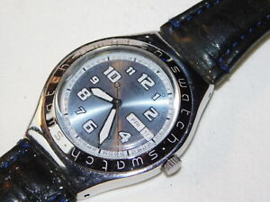 site réputé e6d86 1a19e Details about 2002 MONTRE SWATCH swiss IRONY COOL DAYS uhr SWITZERLAND  suisse UHR cuir LEATHER