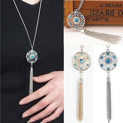 Womens Retro Turquoise Chain Tassel Pendant Long Sweater Chain Necklace Fashion