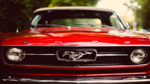 """42/"""" x 24/"""" LARGE WALL POSTER PRINT NEW. Red Ford Mustang Bumper Car"""