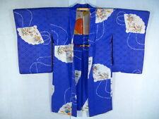 Vintage Japanese Kimono WOMAN HAORI Coat Aged 1920 Antique Design Art Silk H874