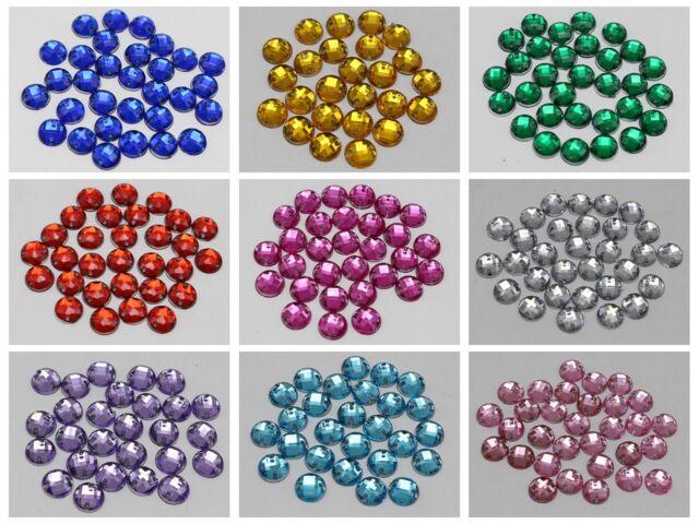 100 Pink Flatback Acrylic Rhinestone Round Sewing Button 14mm Sew on beads
